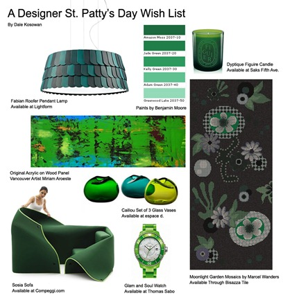st patricks day interior design collage desire objects green