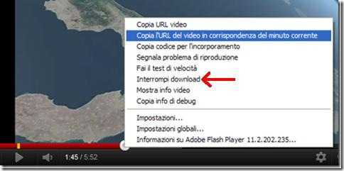 Opzione Interrompi download YouTube nel menu contestuale del mouse