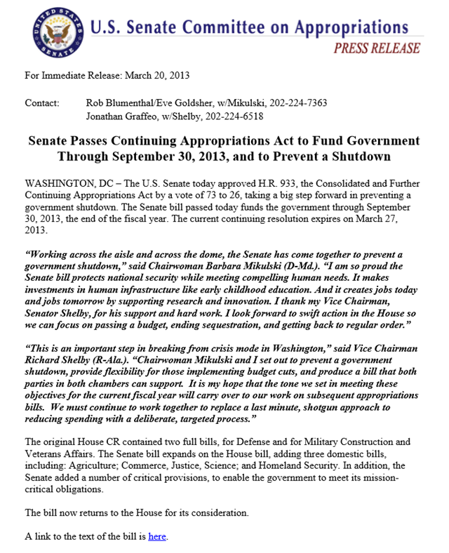 Press release on Continuing Appropriations Act to Fund Government through September 30, 2013, and to Prevent a Shutdown. Photo: U.S. Senate Committee on Appropriations