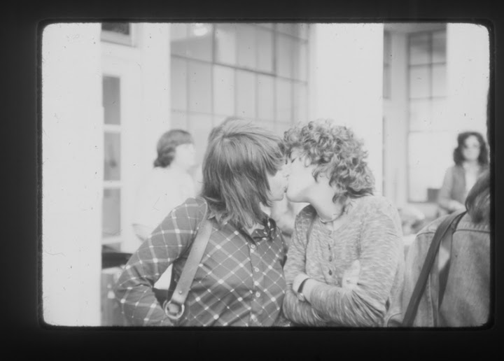 Lesbians kissing at the first Woman's Building. Circa 1974