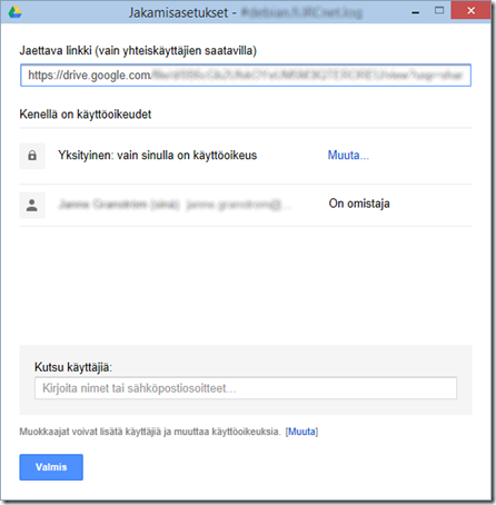 Google Driven työpöytäsovelluksen tiedostonjakoikkuna (Lisäasetukset).