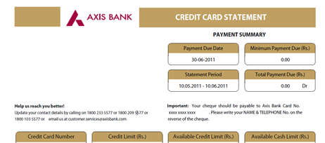 Axis bank credit card statement