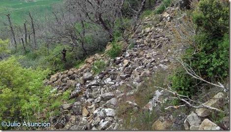 Derrumbe de la muralla del castillo de Leguin - Valle de Izagaondoa - Navarra