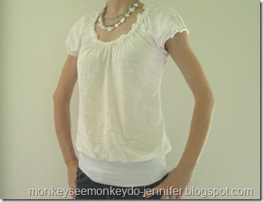 banded bottom white shirt DIY
