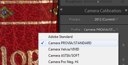 Camera Calibration PROVIA/STANDARD Profile