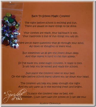 Night Before School Confetti and Poem {A Sprinkle of This . . . . A Dash of That}