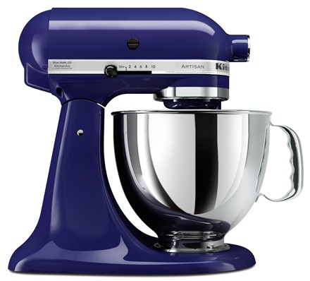 blue kitchenaid mixer