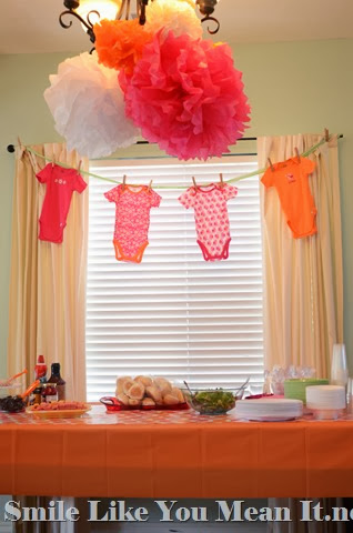 Pom Poms and Onesies--Simple Baby Shower Decor