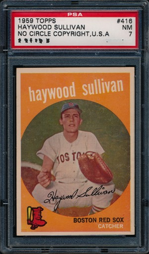 1959 Topps 416A Haywood Sullivan no circle no period front