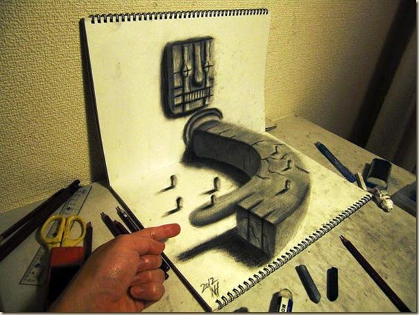 Incroyables dessins au crayon en 3D par Nagai Hideyuki-003