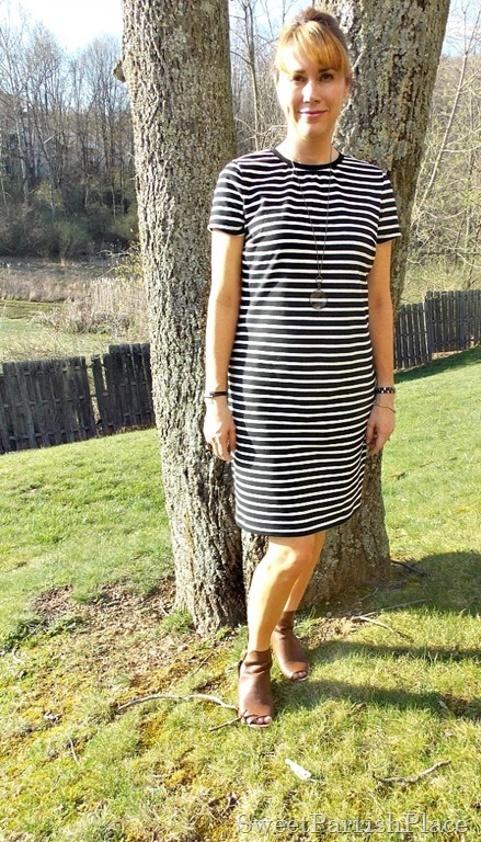 Black and white striped dress, brown peep toe booties1
