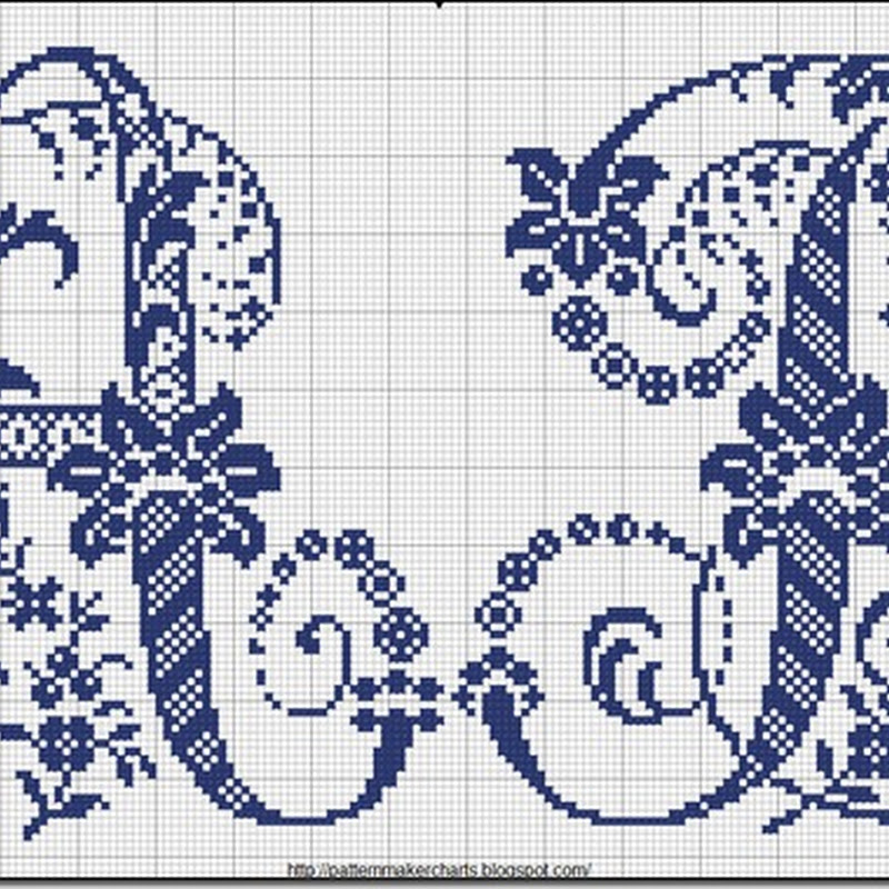 abecedario Letras azules adornadas punto de cruz