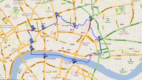 [Click me] Map of the City of London showing the location of the dragons