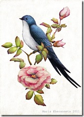 a swallow on a branch of wild rose by Maria Khersonets 5-7 inch_thumb[1]