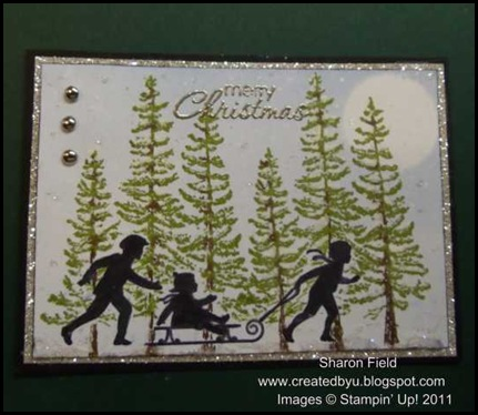 ATC, Sharon_Field, art, plant_hope, welcome_christmas, masking, sponging, techniques, markers, snow, dazzling details, moon, trees, glimmer_paper, snow