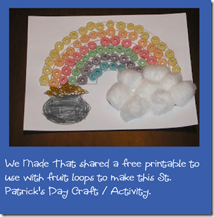 St. Patrick's Day craft with fruit loops