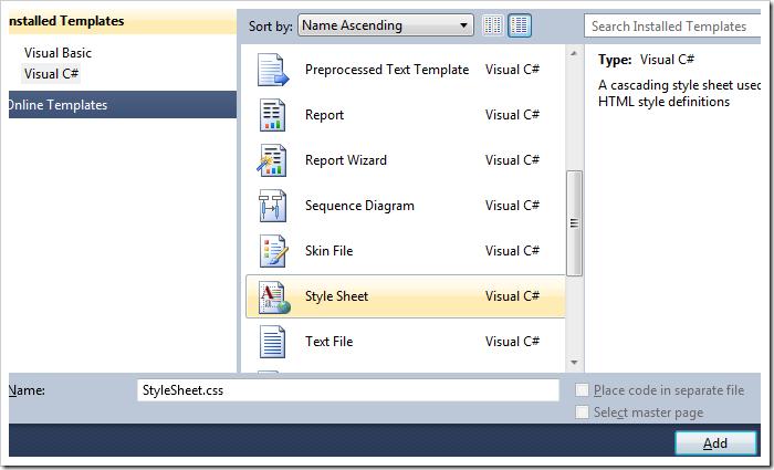 Select 'Style Sheet' option, and press Add.