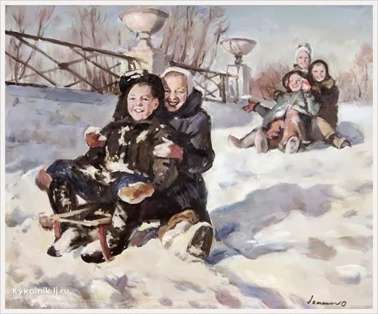 Ломакин Олег Леонидович (Россия, 1924 - 2010) «с горки на санках 1964 (2)