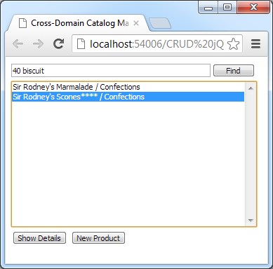 Selecting a product for update in a cross-domain client of a web app created with Code On Time