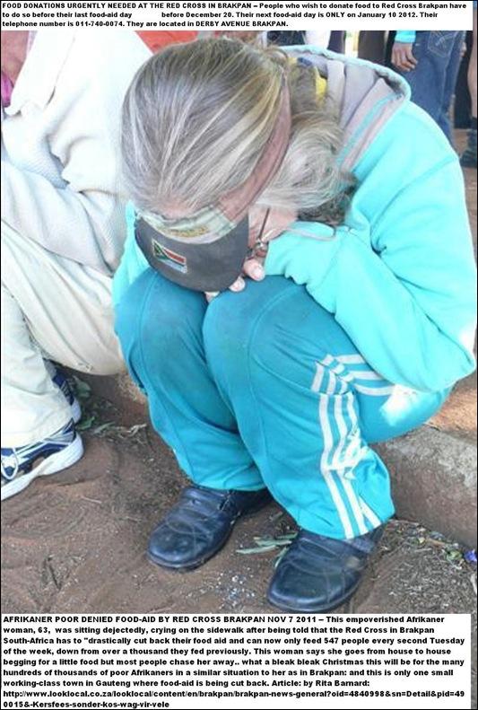 AFRIKANER POOR WOMAN 65 DENIED FOODAID BY RED CROSS BRAKPAN NOV92011
