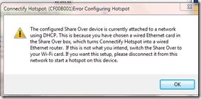 โปรแกรม Connectify ไม่สามารถใช้ได้