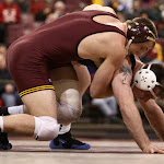 174: #2 Logan Storley (Minnesota) dec #5 Jordan Blanton (Illinois) 6-5. Photo by Mark Beshey.