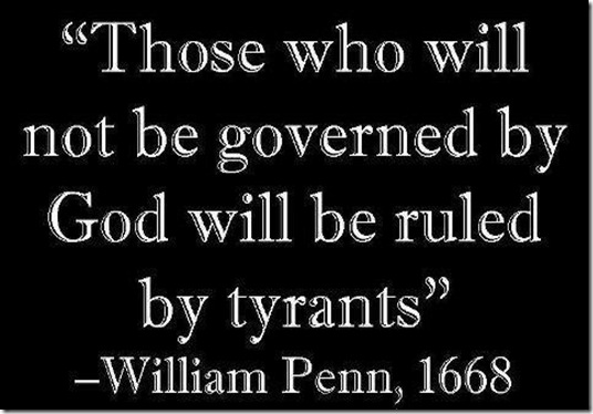 Not governed by God ruled by Tyrants
