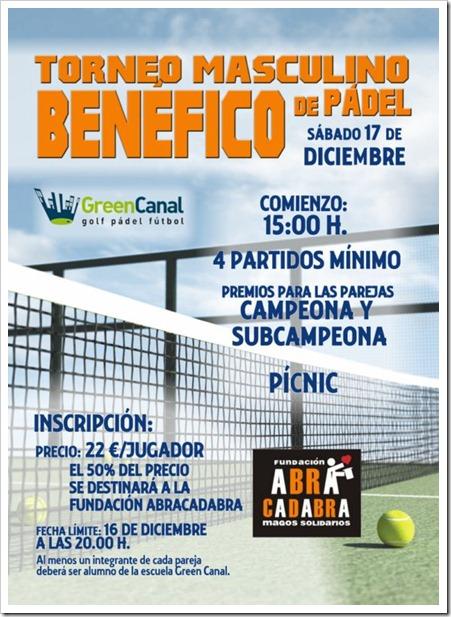 Torneo Masculino Benéfico de Pádel en Green Canal, Sábado 17 diciembre de 2011.