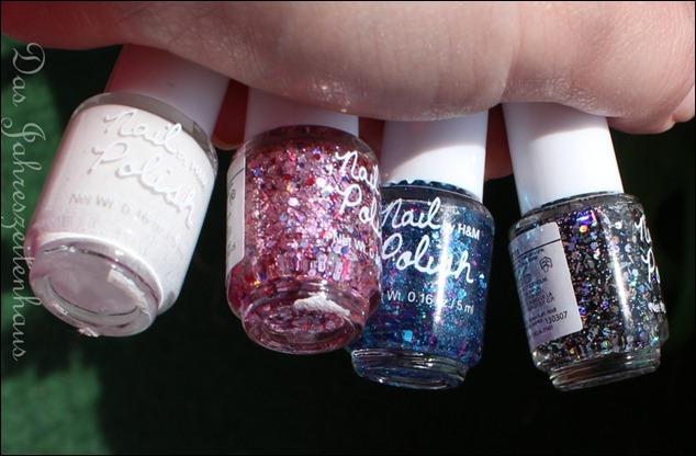 H&M Nagellack Blue Glitter Pink Glitter Black Glitter White 2