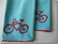 dish towel with bike stencil