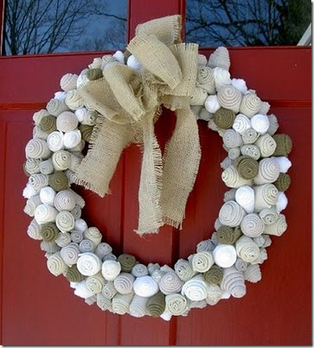 Winter wreath--rolled felt flower wreath