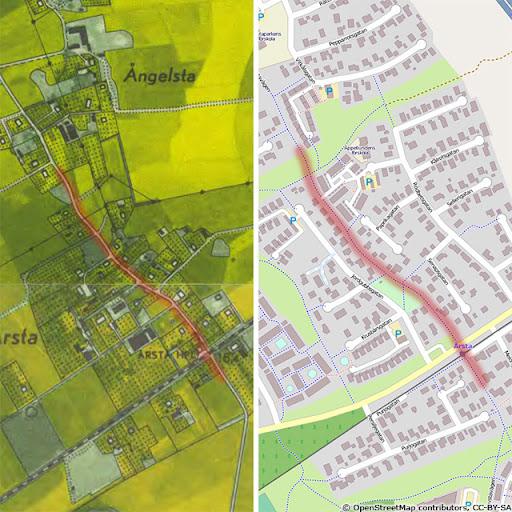 Häradsvägen i Årsta 1952 och cykelvägen idag.