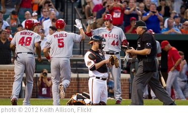 'Torii Hunter, Albert Pujols, Mark Trumbo' photo (c) 2012, Keith Allison - license: http://creativecommons.org/licenses/by-sa/2.0/