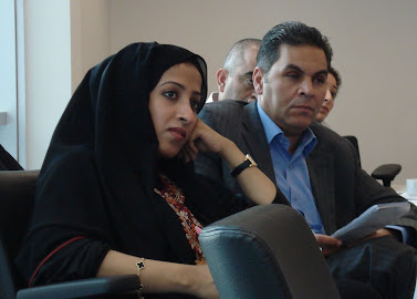 (From left) Maytha Al Habsi from the Emirates Foundation and Thuqan Qishawi from the American Friends Service Committee participate in the 'Leadership for Public Wellbeing in the Middle East' workshop hosted by RCLA and the Abu Dhabi Institute.