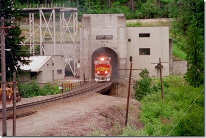 259160115 BNSF SD75M #8229 emerging from the Cascade Tunnel at Berne, Washington in 2002