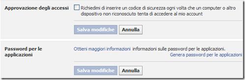 Facebook Approvazione degli accessi Password per le applicazioni