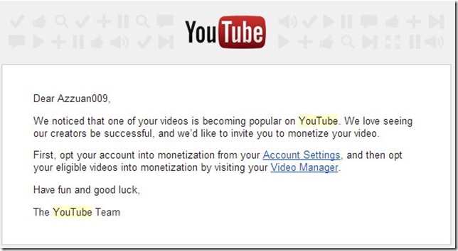 invitation to monetize on youtube