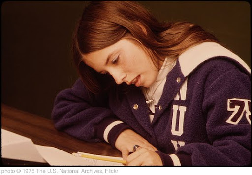 'Student at Work at Senior High School in New Ulm, Minnesota the Town Is a County Seat Trading Center of 13,000 in a Farming Area of South Central Minnesota...' photo (c) 1975, The U.S. National Archives - license: http://www.flickr.com/commons/usage/