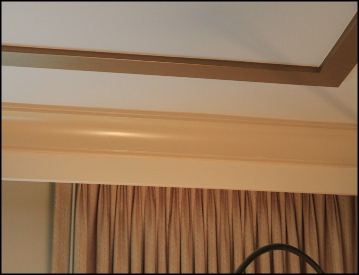 faux tray ceiling extra trim for drapes