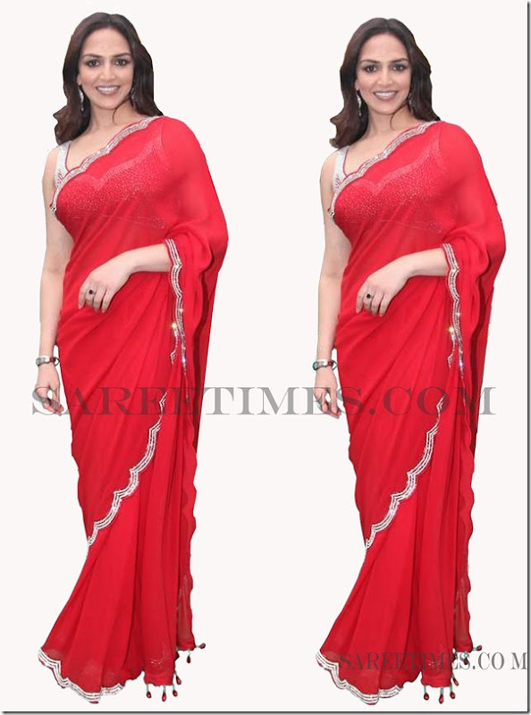 Esha_Deol_Red_Saree