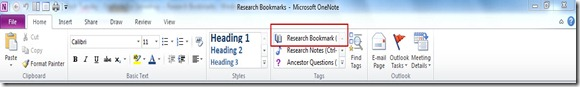 OneNote for Genealogy Research Bookmark Tag