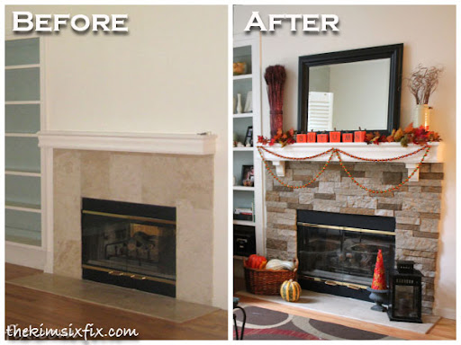 stacked stone mantel makeover