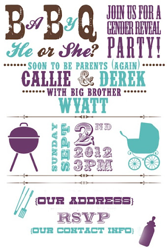 "babyq"" gender reveal party invitations! 