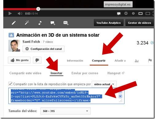 Código para colocar una lista de reproducción de YouTube en una web, foro o blog.