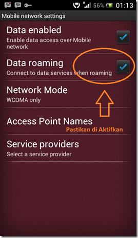 Konfigurasi 3G Data Roaming