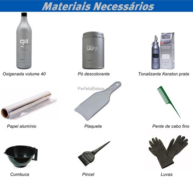Materiais necessários para fazer mechas no papel alumínio