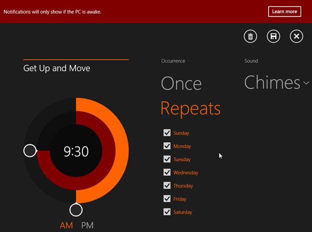 Nice looking/modern and to the point Windows 8 Alarms metro app