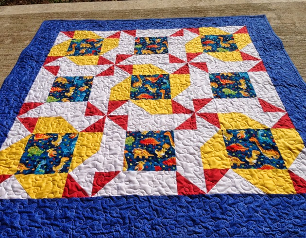 Churn Dash Variation Baby Quilt 1