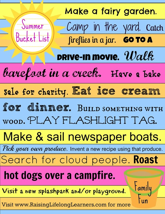 Summer Bucket List Family Fun Printable via www.RaisingLifelongLearners.com