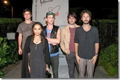 MIAMI BEACH, FL - DECEMBER 03: (L-R) Raviv Ullman, Zoe Kravitz, James Levy, a guest, and Jimmy Giannopoulos of Lolawolf attend the Porsche Design x Thierry Noir Art Basel Miami Beach Event at The Temple House on December 3, 2013 in Miami Beach, Florida.  (Photo by Neilson Barnard/Getty Images for Porsche Design)